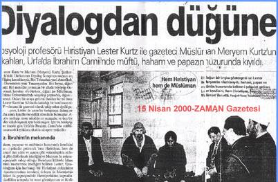 """""""Diyalogdan Düğüne"""" başlıklı Zaman Gazetesinin Haberi-http://arsiv.zaman.com.tr/2000/04/15/guncel/2.html"""